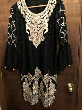 New Beautiful 3 pcs Black embriodered dress sz Large with Free shipping