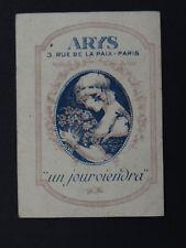 Ancienne carte parfumée ARYS rue de la paix Paris coiffeur de dames Louviers
