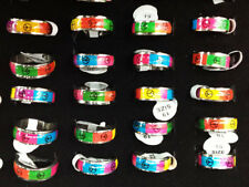 Wholesale Lots 10pcs Peace Sign Enamel Top Stainless steel Fashion Jewerly Ring