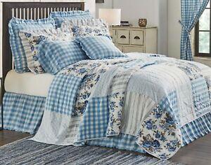 Exquisite Blue Floral Quilt Vintage-Style Farmhouse Patchwork w/ Annie Gingham