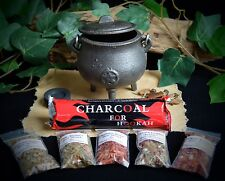 Cast Iron  Cauldron Grain Incense Kit Wicca Pagan Pentacle Charcoal Disc Gift
