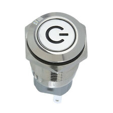 16mm High Round Cap Waterproof Blue LED Momentary Push Button Switch 12V