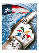 "GLOVE - 1998 Nagano, Japan - WINTER OLYMPIC POSTER - USOC Licensed 23"" x 32.5"""