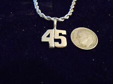 bling silver plated sport didget number 45 pendant charm chain hip hop necklace
