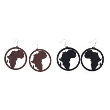 Women Natural Wood Africa Map Dangle Earrings Round Wooden Earrings Jewelry
