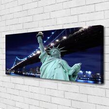 Leinwand-Bilder Wandbild Canvas Kunstdruck 125x50 Brücke Freiheitsstatue Skyline