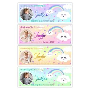 PERSONALISED RAINBOW CHRISTENING CLOUDS PHOTO BANNER CLEBRATION WALL DECOR KIDS