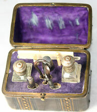 COMPLETE Antique c1800~~RaRe DOLL's Tools 15pc ETUI~~Embossed LEATHER Case;