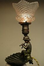 ANTIQUE ART NOUVEAU FRENCH CHERUB ANGEL FIGURAL BOUDOIR LAMP CUT GLASS SHADE OLD