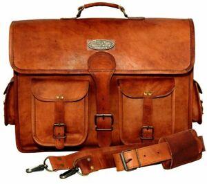"""GVB Leather Bag Business Laptop Messenger Shoulder Crossbody 18"""" Diestressed"""