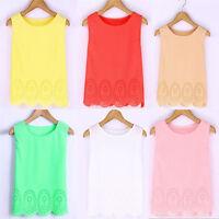 Womens Summer Sleeveless Casual Tank Tops Vest Chiffon Blouse T-shirts Tee Cami