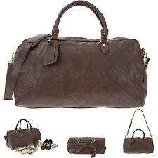 Reisetasche JUSTIFIED Ledertasche Duffle Bag COOPER Tasche Weekender BRAUN +Etui