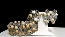 Vintage Dangling Faux Pearls and Faceted Crystals Cha Cha Bracelet Earrings Set