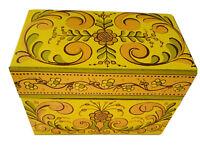 Fun Vintage 1970s Avon Farmhouse Yellow Orange Metal Recipe Box Retro Chic