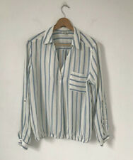 River Island Women Top Size 14 Blue White Pull Over Tunic Long Sleeve V Neck
