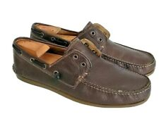 John Varvatos Star USA Men's Star Leather Laceless Boat Shoes Brown US Size 11M