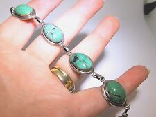 STERLING SILVER OVAL CUT  CABOCHON TURQUOISE  BRACELET