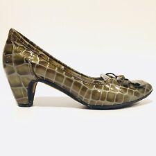 48222d629 Sam Edelman Yollie Moc Croc Green Kitten Heel Leather Shoes Women s Size 6 M