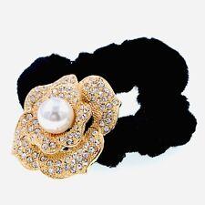 Flower Pearl Rose Ponytail holder Elastic Rhinestone Crystal Hair Tie Rope GOLD