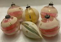 VINTAGE WEST GERMAN GLASS ORNAMENTS W/BOX - MICA, DRESDEN ACCENTS & ANGEL HAIR!