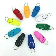 Dog Puppy Pet Training Obedience Clicker & Whistle Key Ring 10 Colors