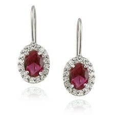 925 Silver 2ct Created Ruby & Sapphire Oval Leverback Earrings