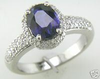 Blue Oval Sapphire & Round Diamond Band Cocktail Ring 18K White Gold Size 7 NEW