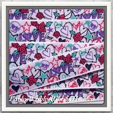 "Scribble, Love & Roses Tattoo Fun grosgrain ribbon 4 Bows-5 yrds 7/8"" TWRH"