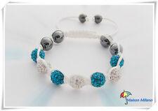 Bracelet style SHAMBALLA 66 strass blanc turquoise HEMATITE NIALAYA nouve modele
