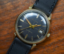 Vintage BULOVA Automatic Gold Plate Cross Hair Luminous Dial Watch Calfskin Band