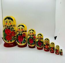 Hand Painted Nesting Matryoshka Dolls 8 Pieces Made In Russia