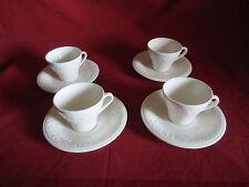 4 jolies tasses à café blanches sarreguemines decor feuilles de vigne fruit