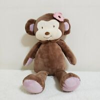 "Cocalo Baby Jacana 15"" Brown Tan Plush Stuffed Animal Monkey w/Pink Flower"