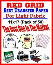 HEAT TRANSFER PAPER RED GRID IRON ON LIGHT T SHIRT INKJET PAPER 50 PK 11X17