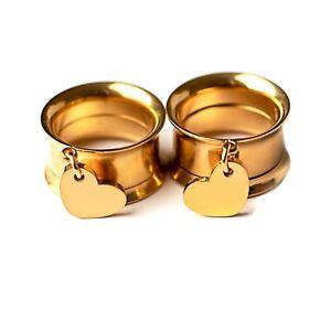Mini Gold Heart ,316l Steel Screw-Fit Dangle Flesh Tunnel Ear Plug 6mm-25mm