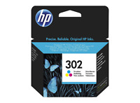 HP 302 COLOUR F6U65AE INK CARTRIDGE ORIGINAL FOR OFFICEJET 3830 4650 ENVY 4520