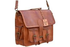 Vintage messenger handmade leather laptop genuine 4 pocket briefcase satchel bag