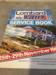 1984 LOMBARD RAC RALLY SERVICE BOOK  AUDI QUATTRO EX JIM PORTER