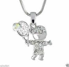 TENNIS BOY W Swarovski Crystal Sport Love Pendant Necklace Gift