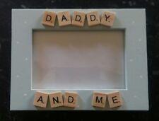 "Bespoke Personalised daddy and me photo Frame 6""x4"" scrabble art gift keepsake"
