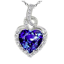 2.0ct Heart Shaped 8mm Created Blue Sapphire Pendant Sterling Silver W/ Chain