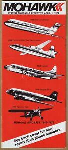 Mohawk Airlines Timetable  April 1, 1972 =