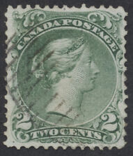Canada #24 2c Large Queen, Used, Almost VF, Light Oval Grid Cancel