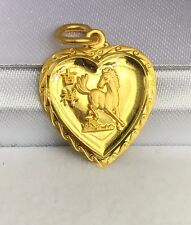 24K Solid Gold Cute Horse Animal Sign Heart Shape Charm/ Pendant, 2.40 Grams