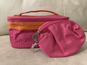 LANCOME Pink Orange Cosmetic Makeup Travel Plus w/ Handle Small Pink Clutch 🎁