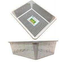 6pc White Multi-purpose Plastic Storage Basket Organiser Home Office Tubs