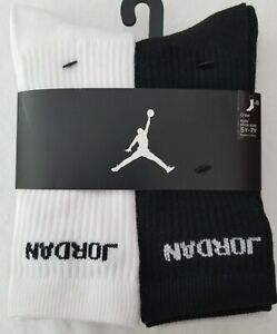 Nike Kids Air Jordan Crew Socks 6 Pack Youth Size 5Y-7Y 9-11 3 Colors FREE SHP!!