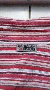 Seersucker Hemd  von No Problem   Gr. 53/54   rot/beige gestreift