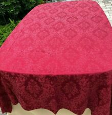 Christmas Dining Tablecloth, Damask, 88 x 57 in, Maroon Color