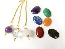 7 Chakra Worry Stone with Pouch and Pendulum Sets Meditation Pranic Healing Aid